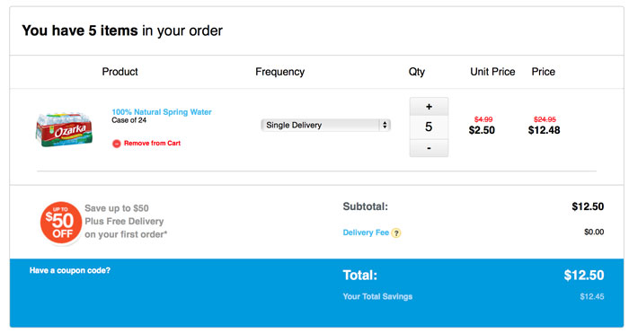 I bought 5 cases of water for just $12.50!