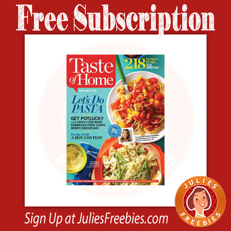 Summer Savings! Subscribe or renew your Taste of Home magazine subscription now and save 20% off. For only $ receive 6 issues of Cooking delivered to your home on a Bi-Monthly basis. Renewals to Taste of Home will be added to your remaining issues of your current subscription and extended.5/5(2).