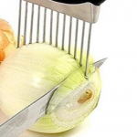 Stainless Steel Vegetable Holder and Slicing Guide Tool