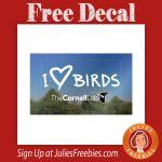Free I <3 Birds Window Decal