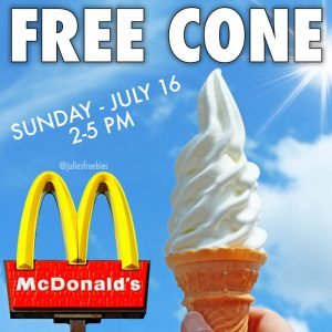 Free Soft Serve Cone at McDonalds - July 18 - Julie's Freebies