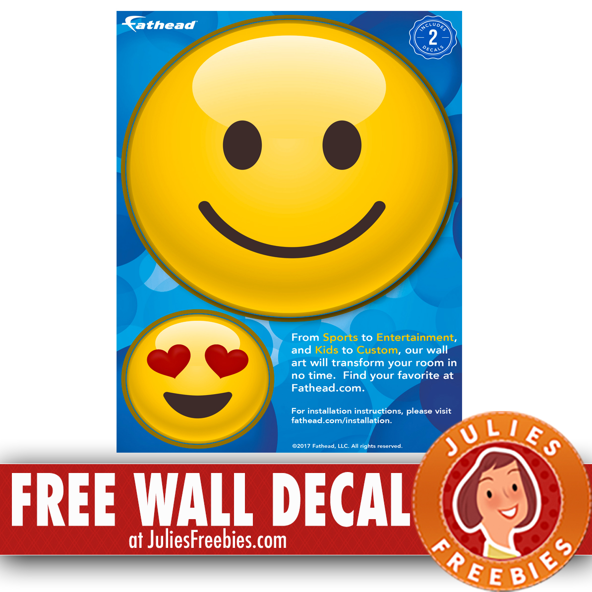 Free Fathead Emoji Wall Decal - Julie\'s Freebies