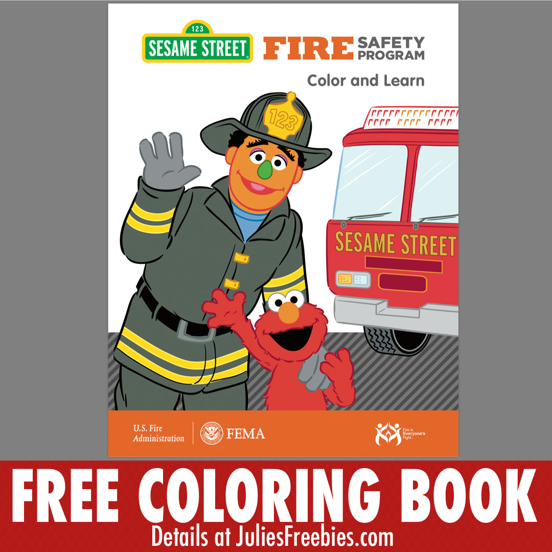 Free Sesame Street Fire Safety Coloring Book - Julie\'s Freebies