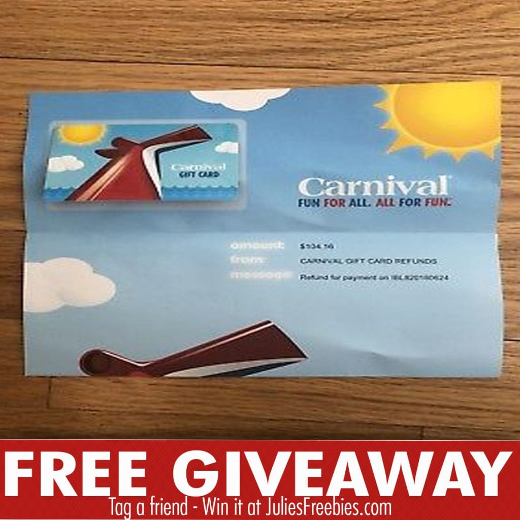 The Carnival Cruise Sweepstakes Julie S Freebies