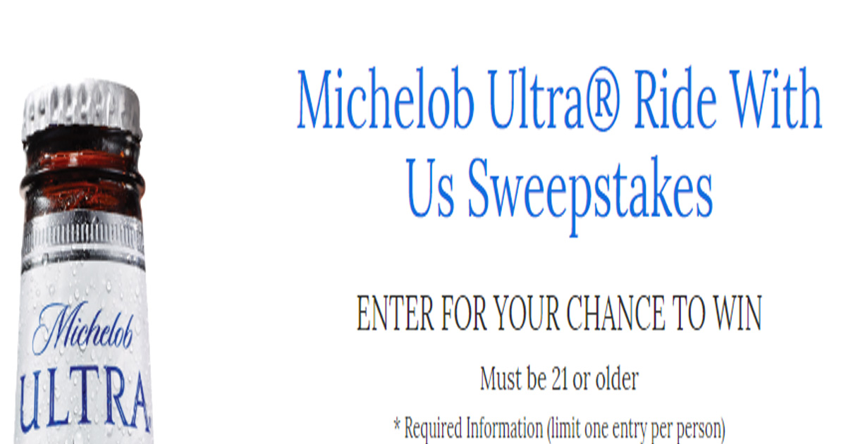 Lyft 100 Credit >> Michelob Ultra Ride With Us Sweepstakes (Select States) - Julie's Freebies
