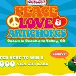 Peace, Love & Artichokes Sweepstakes (First 1,000 Get a Sticker too!)