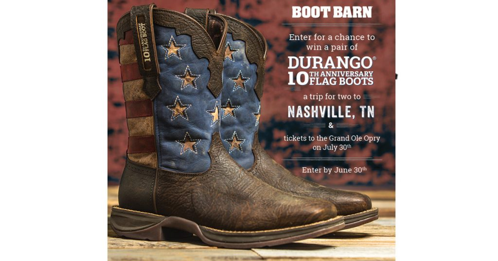 """2308cf8afb6 Durango/Boot Barn """"10th Anniversary Flag Boot"""" Sweepstakes - Julie's ..."""