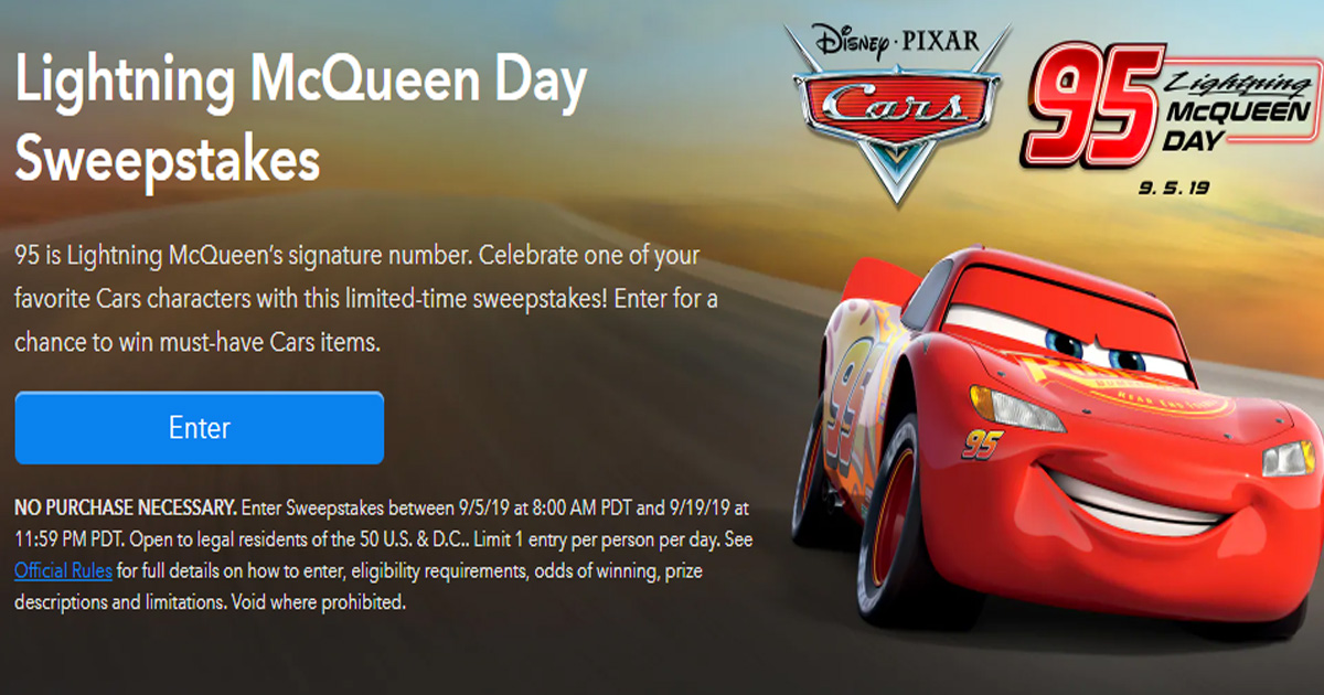The Lightning Mcqueen Day Sweepstakes Julie S Freebies