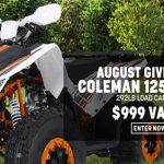 August 2020 Coleman ATV Giveaway Sweepstakes